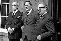 Prince Richard, Duke of Gloucester, eighth in line to the throne, today, 16th February 1977, became the first member of the Royal Family to visit N Ireland since the start of the Troubles. He is seen here with the Duke of Westminster, left, whom he invested as a Knight of the Order of St John of Jerusalem of Government House, Hillsborough, Co Down. Also in the photo is Sir Ian Fraser, a Knigh Commander of St John's. 197702160015e.<br /> <br /> Copyright Image from Victor Patterson, 54 Dorchester Park, <br /> Belfast, UK, BT9 6RJ<br /> <br /> t1: +44 28 9066 1296 (from Rep of Ireland 048 9066 1296)<br /> t2: +44 28 9002 2446 (from Rep of Ireland 048 9002 2446)<br /> m: +44 7802 353836<br /> <br /> e1: victorpatterson@me.com<br /> e2: victorpatterson@gmail.com<br /> www.victorpatterson.com<br /> <br /> Please see my Terms and Conditions of Use at www.victorpatterson.com. It is IMPORTANT that you familiarise yourself with them.<br /> <br /> Images used on the Internet must be visibly watermarked i.e. &copy; Victor Patterson<br /> within the body of the image and copyright metadata must not be deleted. Images <br /> used on the Internet have a size restriction of 4kbs and will be chargeable at current<br />  NUJ rates unless agreed otherwise.<br /> <br /> This image is only available for the use of the download recipient i.e. television station, newspaper, magazine, book publisher, etc, and must not be passed on to any third <br /> party. It is also downloaded on condition that each and every usage is notified within 7 days to victorpatterson@me.com<br /> <br /> The right of Victor Patterson to be identified as the author is asserted in accordance with The Copyright Designs And Patents Act (1988). All moral rights are asserted.
