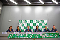 Swiss, Genève, September 14, 2015, Tennis,   Davis Cup, Swiss-Netherlands, Press Conference Dutch team, Ltr:  Matwe Middelkoop, Thiemo de Bakker, captain Jan Siemerink, Jesse Huta Galung, Tallon Griekspoor and Tim van Rijthoven<br /> Photo: Tennisimages/Henk Koster