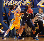 BROOKINGS, SD - DECEMBER 11:  Mariah Clarin #40 from South Dakota State University applies pressure to Candice Aggee #1 from Penn State in the first half of their game Wednesday night at Frost Arena in Brookings. (Photo by Dave Eggen/Inertia)
