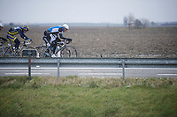 Gent-Wevelgem 2013.Maarten Wynants' (BEL) turn up front in the windy flat fields of Flanders.