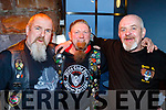 L-R Rathmore bikers, Martin Cross, Martin Crean and David Gibney at the No Hopers Bike rally in the Ballyroe Heights hotel, Tralee last Saturday night.