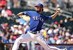 Texas Rangers' Cole Hamels pitches against the Los Angeles Dodgers in a spring training game in Surprise, Ariz., on Saturday, March 26, 2017.<br /> Photo by Cathleen Allison/Nevada Photo Source