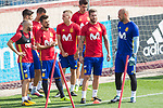 Andres Iniesta, Marco Asensio, David Villa, Sergio Ramos, Gerard Delufeu and Pepe Reina during the training of the spanish national football team in the city of football of Las Rozas in Madrid, Spain. August 28, 2017. (ALTERPHOTOS/Rodrigo Jimenez)