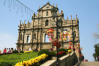 Only a magnificent stone façade and grand staircase remain of the iconic Church of St. Paul's or Sao Paulo in Macau.  The church was built in 1602 next to the Jesuit College of St. Paul's, the first Western college in Asia.  In 1835, a fire razed both the college and the church, leaving only the dramatic façade standing in four colonnaded tiers, complete with carvings and statues. The unique architecture of St Paul's Church recalls the style of the Renaissance with a touch of Asian architecture in a mix of Chinese and Western elements.