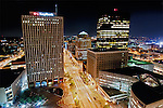 Downtown Dayton Ohio at night, Night view Main Street, Dayton Ohio.  Key Bank building, PNC Bank Building, Premier Health Building, Kettering Tower, Dayton Ohio, city scape, city at night, architecture photo, city at night, Dayton Ohio at night