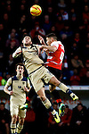 Doncaster Rovers v Leeds United<br /> 14.12.2013<br /> Sky Bet Championship<br /> Picture Shaun Flannery/Trevor Smith Photography<br /> Leeds Alex Mowatt challenges Rovers Dean Furman.