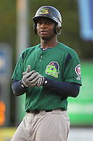 Beloit Snappers third baseman Miguel Sano #33 looks on during a game against the Kane County Cougars at Fifth Third Bank Ballpark on June 26, 2012 in Geneva, Illinois. Beloit defeated Kane County 8-0. (Brace Hemmelgarn/Four Seam Images)