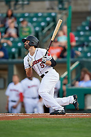 Rochester Red Wings center fielder Ryan LaMarre (5) follows through on a swing during a game against the Pawtucket Red Sox on May 19, 2018 at Frontier Field in Rochester, New York.  Rochester defeated Pawtucket 2-1.  (Mike Janes/Four Seam Images)
