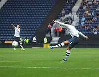 Preston North End's Callum Robinson gets a shot on goal<br /> <br /> Photographer Mick Walker/CameraSport<br /> <br /> Football Pre-Season Friendly - Preston North End  v Burnley FC  - Monday 23st July 2018 - Deepdale  - Preston<br /> <br /> World Copyright &copy; 2018 CameraSport. All rights reserved. 43 Linden Ave. Countesthorpe. Leicester. England. LE8 5PG - Tel: +44 (0) 116 277 4147 - admin@camerasport.com - www.camerasport.com