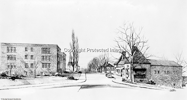 Pittsburgh PA:  View of an Ingham, Boyd and Pratt rendering of the proposed phase 3 Apartments for Chatham Village - 1955.