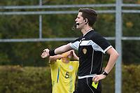 20190927 - WOLVERTEM , BELGIUM : referee Ruben Calluy pictured during the friendly  soccer match between  under 16 teams of  Belgium and Ukraine , in Wolvertem , Belgium . Thursday 26 th September 2019 . PHOTO SPORTPIX.BE / DIRK VUYLSTEKE