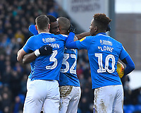 Goalscorer Omar Bogle of Portsmouth second left is mobbed by team mates during Portsmouth vs Doncaster Rovers, Sky Bet EFL League 1 Football at Fratton Park on 2nd February 2019