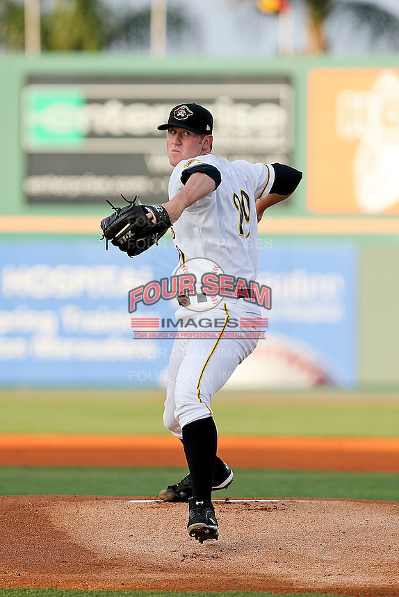 April 23, 2010 Pitcher Nathan Adcock of the Bradenton Marauders, Florida State League Class-A affiliate of the Pittsburgh Pirates, delivers a pitch during a game at McKenhnie Field in Bradenton Fl. Photo by: Mark LoMoglio/Four Seam Images