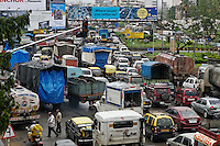 Crowds near the flower market in downtown Mumbai and also a very busy intersection on Eastern Express Highway in Sion East.