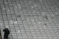 SÃO PAULO,SP,27.07.2014 - CAMPEONATO BRASILEIRO - CORINTHIANS x PALMEIRAS - Ca beiras cebradas no setor visitante onde ficou localizada a torcida do  Palmeiras após a  partida entre Corinthians x Palmeiras válido pela 12º rodada do Campeonato Brasileiro na Arena Corinthians na tarde deste domingo (27).(Foto Ale Vianna/Brazil Photo).