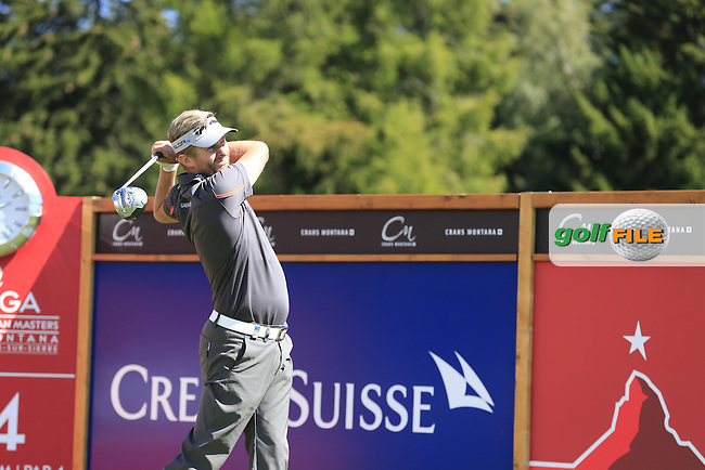 David LYNN (ENG) tees off the 14th tee during Saturday's Round 3 of the 2014 Omega European Masters held at the Crans Montana Golf Club, Crans-sur-Sierre, Switzerland.: Picture Eoin Clarke, www.golffile.ie: 6th September 2014