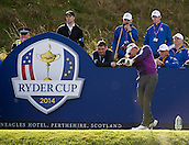 24.09.2014. Gleneagles, Auchterarder, Perthshire, Scotland.  The Ryder Cup.  Ian Poulter (EUR) on the 9th tee during his practice round.
