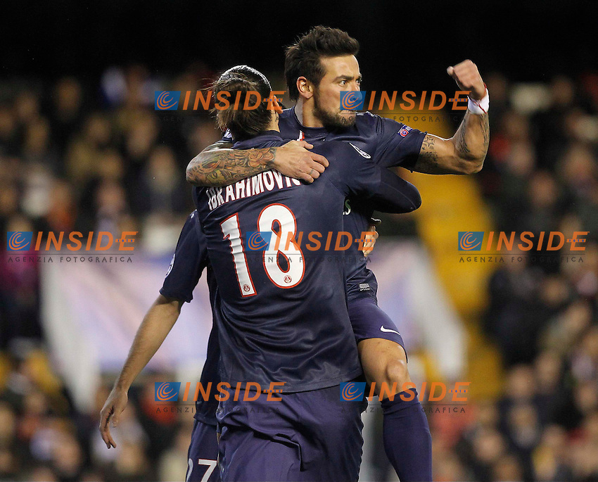 Ezequiel Lavezzi - Zlatan Ibrahimovic (psg) - joie - celebration .Valencia 12/2/2013 .Valencia Vs PSG.Football 2012/2013 Champions League.Foto Insidefoto.ITALY ONLY