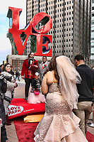 PHILADELPHIA, PA- FEBRUARY 14 : Power 99 radio station marries three couples iat the love state in Love Park Philadelphia, Pa February 14, 2020 <br /> CAP/MPI/STA<br /> ©STA/MPI/Capital Pictures