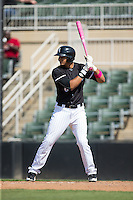 Antonio Rodriguez (6) of the Kannapolis Intimidators uses a pink bat in honor of Mother's Day during the game against the Lakewood BlueClaws at Kannapolis Intimidators Stadium on May 8, 2016 in Kannapolis, North Carolina.  The Intimidators defeated the BlueClaws 3-2.  (Brian Westerholt/Four Seam Images)