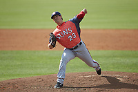 Hagerstown Suns relief pitcher Ben Braymer (23) in action against the Kannapolis Intimidators at Kannapolis Intimidators Stadium on May 6, 2018 in Kannapolis, North Carolina. The Intimidators defeated the Suns 4-3. (Brian Westerholt/Four Seam Images)