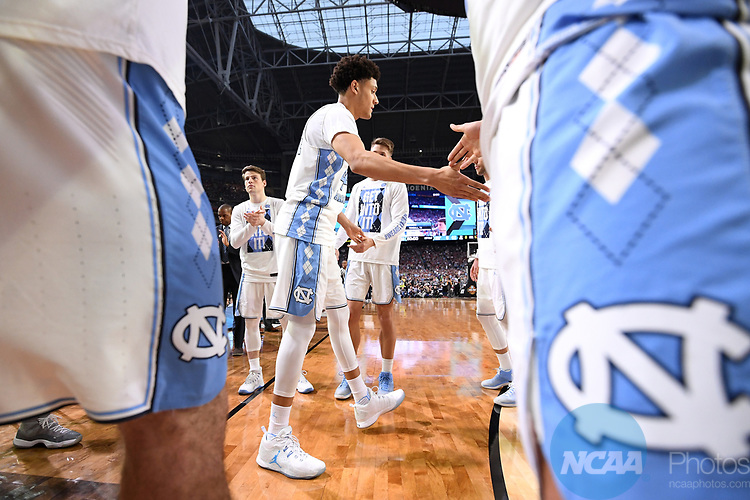 GLENDALE, AZ - APRIL 03: North Carolina Tar Heels players enter the court during the 2017 NCAA Men's Final Four National Championship game against the Gonzaga Bulldogs at University of Phoenix Stadium on April 3, 2017 in Glendale, Arizona.  (Photo by Jamie Schwaberow/NCAA Photos via Getty Images)
