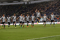 Calcio, Serie A: Lazio vs Juventus. Roma, stadio Olimpico, 27 agosto 2016.<br /> Juventus' players greet fans at the end of the Serie A soccer match between Lazio and Juventus, at Rome's Olympic stadium, 27 August 2016. Juventus won 1-0.<br /> UPDATE IMAGES PRESS/Isabella Bonotto