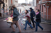 Musicians take part in The Baras Collective rally near the Bagnolet Town Hall today as the collective continues to fight an expulsion from 72 René Alazard in Bagnolet, suburb of Paris, France. Jan. 31, 2015.