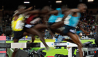 22 AUG 2013 - STOCKHOLM, SWE - Competitors leap a hurdle during the men's 3000m Steeplechase race at the DN Galen meet of the 2013 Diamond League in the Stockholm Olympic Stadium in Stockholm, Sweden (PHOTO COPYRIGHT © 2013 NIGEL FARROW, ALL RIGHTS RESERVED)
