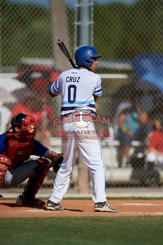J.J. Cruz during the WWBA World Championship at the Roger Dean Complex on October 19, 2018 in Jupiter, Florida.  J.J. Cruz is a shortstop from La Palma, California who attends Richard Gahr High School and is committed to Cal State Fullerton.  (Mike Janes/Four Seam Images)