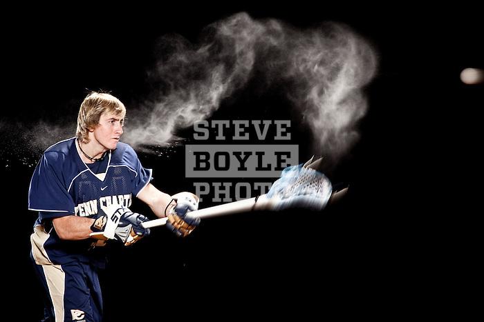 Penn Charter High School lacrosse player Joey Sankey on February 11, 2011 in Philadelphia, Pennsylvania.  Sankey will attend the University of North Carolina in the fall of 2011...2011 © Steve Boyle