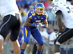BROOKINGS, SD - AUGUST 31:  Charles Elmore #29 from South Dakota State University eyes the Butler offense in the first quarter Saturday evening at Coughlin Alumni Stadium in Brookings. (Photo by Dave Eggen/Inertia)