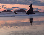 Bandon State Park, Oregon<br /> Sunset reflections at low tide with silhouetted seastacks at Bandon Beach