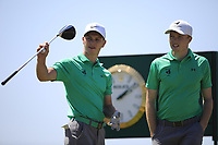 Rowan Lester and Robin Dawson of Ireland wait to play during the third round of the European Amateur Championship played at the Royal Hague Golf and Country Club, The Hague, Netherlands. 29/06/2018<br /> Picture: Golffile | Phil Inglis<br /> <br /> All photo usage must carry mandatory copyright credit (&copy; Golffile | Phil Inglis)