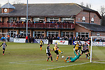 Fans in the clubhouse watch Southport miss a late chance. Darlington 1883 v Southport, National League North, 16th February 2019. The reborn Darlington 1883 share a ground with the town's Rugby Union club. <br /> After several years of relegations, bankruptcies, and ground moves, the club is fan owned, and back on an even keel in the National League North.<br /> A 0-0 draw with Southport was marred by a broken leg and dislocated knee suffered by Sam Muggleton, Darlington's on loan left back.<br /> Both teams finished the season in lower mid table.