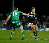 9th February 2018, Galway Sportsground, Galway, Ireland; Guinness Pro14 rugby, Connacht versus Ospreys; Ashley Beck (Ospreys)  looks for a way past Tom Farrell (Connacht)