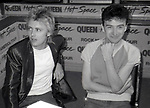"""Roger Taylor and John Deacon of Queen attend Queen Press Conference for """"Hot Space"""" at Crazy Eddie's on July 27, 1982  in New York City."""