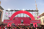 Team EF-Drapac-Canondale on stage at the Team Presentation before the 101st edition of the Giro d'Italia 2018. Jerusalem, Israel. 3rd May 2018.<br /> Picture: LaPresse/Fabio Ferrari | Cyclefile<br /> <br /> <br /> All photos usage must carry mandatory copyright credit (&copy; Cyclefile | LaPresse/Fabio Ferrari)
