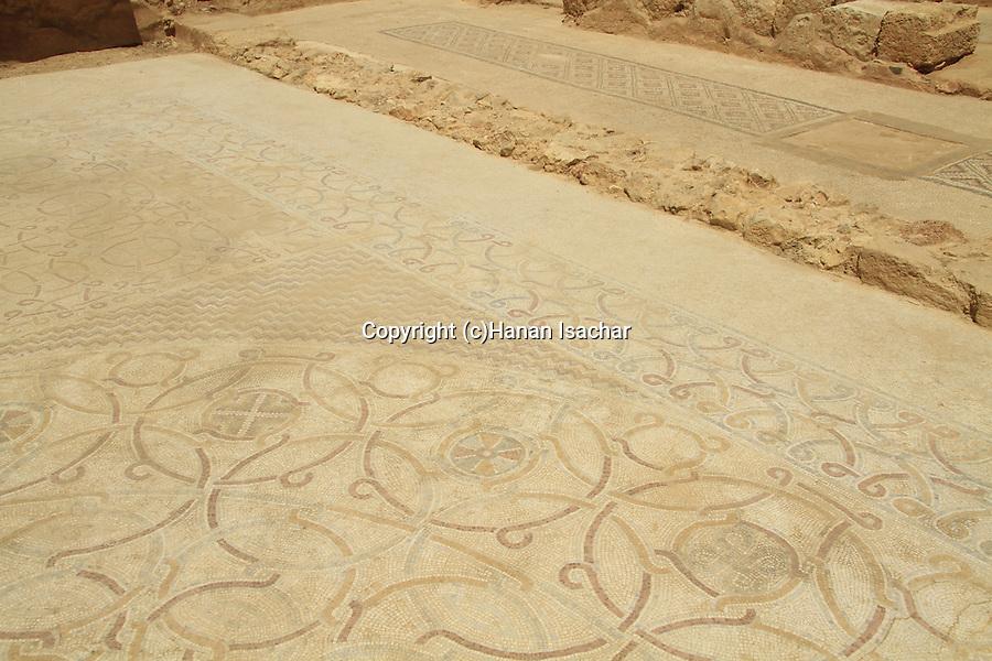 Samaria, mosaic from a Byzantine Church found under Jama al Yatim, a prayer building from the Muslim period in Tel Shiloh