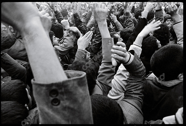 Mourners in Behesht e Zahra, the capital's main cemetery, protest during funerals for those killed in 24 of Esfand Square the day before. Tehran, December 28, 1978