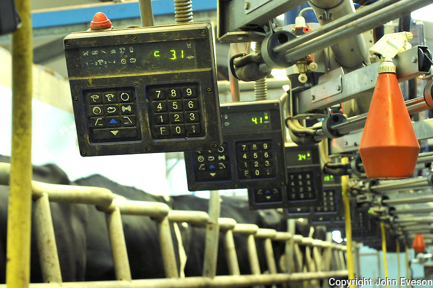 Controls in a milking parlour.