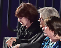From left to right: Bill Clinton accusers Kathleen Willey, left,  Juanita Broaddrick, center, and rape victim Kathy Shelton, right, appear prior to former United States Secretary of State Hillary Clinton, the Democratic Party nominee for President of the US and businessman Donald J. Trump, the Republican Party candidate for President of the US, are introduced for the second of three presidential general election debates at Washington University in St. Louis, Missouri on Sunday, October 8, 2016.<br />