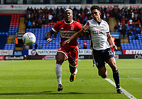 Middlesbrough's Adama Traore and Bolton Wanderers' Antonee Robinson in action<br /> <br /> Photographer Juel Miah/CameraSport<br /> <br /> The EFL Sky Bet Championship - Bolton Wanderers v Middlesbrough - Saturday 9th September 2017 - Macron Stadium - Bolton<br /> <br /> World Copyright &copy; 2017 CameraSport. All rights reserved. 43 Linden Ave. Countesthorpe. Leicester. England. LE8 5PG - Tel: +44 (0) 116 277 4147 - admin@camerasport.com - www.camerasport.com