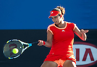 SANIA MIRZA (IND) against TSVETANA PIRONKOVA (BUL) in the first round of the Women's Singles. Tsvetana Pironkova beat Sania Mirza 6-4 6-2..16/01/2012, 16th January 2012, 16.01.2012..The Australian Open, Melbourne Park, Melbourne,Victoria, Australia.@AMN IMAGES, Frey, Advantage Media Network, 30, Cleveland Street, London, W1T 4JD .Tel - +44 208 947 0100..email - mfrey@advantagemedianet.com..www.amnimages.photoshelter.com.