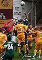 Jean-Alain Boumsong rises for thre ball in the Motherwell v Panathinaikos UEFA Champions League 3rd Qualifying Round 1st Leg match at Fir Park, Motherwell on 31.7.12.