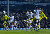 12.12.2013 London, England. Anzhi Makhachkala defender Ewerton (37) scores late in the first half of the Europa League game between Tottenham Hotspur and Anzhi Makhachkala from White Hart Lane.