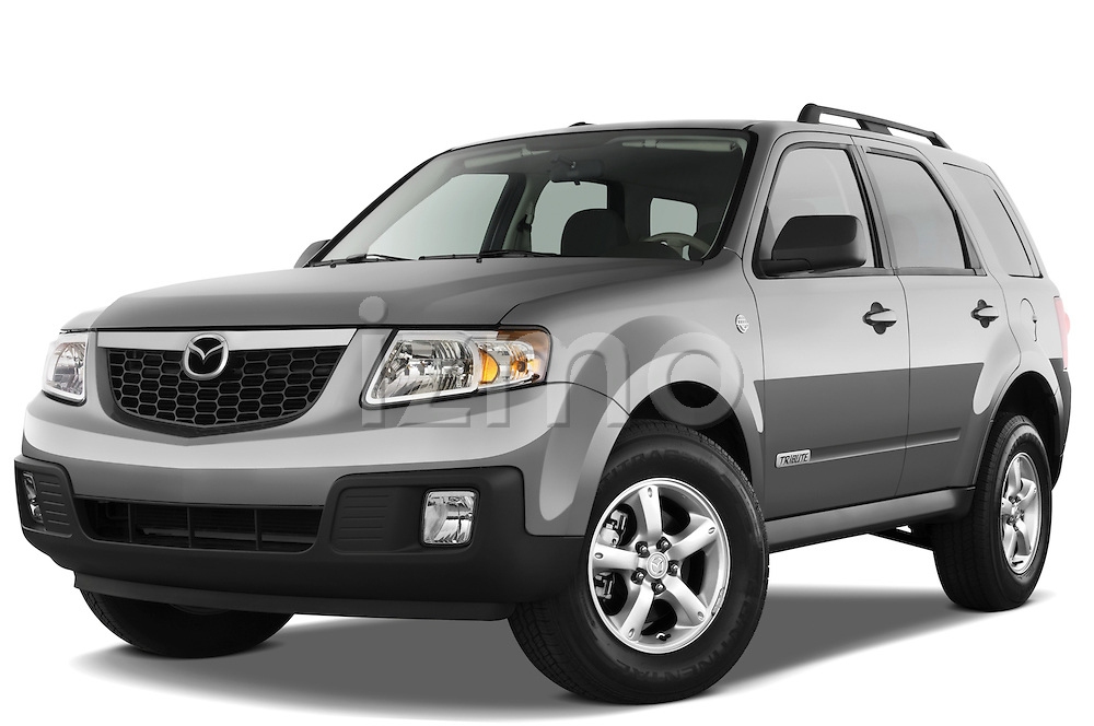 Low aggressive front three quarter view of a 2009 Mazda Tribute Hybrid.