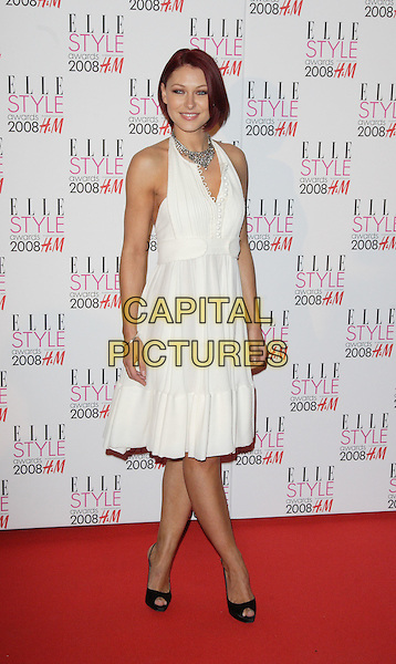EMMA GRIFFITHS .Red Carpet arrivals at the Elle Style Awards, held at the Westway, London, England. .February 12th, 2008.full length white halterneck dress necklace black peep toe shoes .CAP/ROS.©Steve Ross/Capital Pictures.