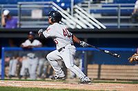 Mahoning Valley Scrappers outfielder Ka'ai Tom (40) at bat during the first game of a doubleheader against the Batavia Muckdogs on July 2, 2015 at Dwyer Stadium in Batavia, New York.  Batavia defeated Mahoning Valley 4-1.  (Mike Janes/Four Seam Images)