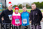Peter Tristram Tralee, Ellen Cox Ballybunion, Willie John Sheil and William O'Connor Castleisland at the Run Rudolph Run in Castleisland on Sunday